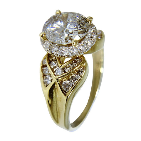 14KT YELLOW GOLD DIAMOND WOMENS RING - 1.85 CT