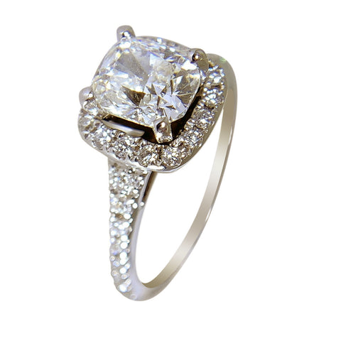 14 KT WHITE GOLD - WOMENS DIAMOND RING - 1.69 CT