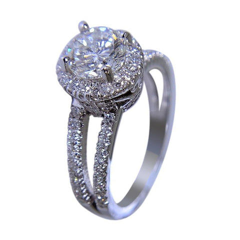 14K WHITE GOLD - WOMEN ENGAGEMENT DIAMOND RING - 1.69 CT