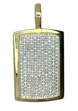14 KT - Yellow Gold Diamond Dog Tag Men Pendant - 3.74 CT