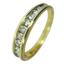 14 KT YELLOW GOLD ROUND DIAMOND WEDDING BAND - 0.57 CT