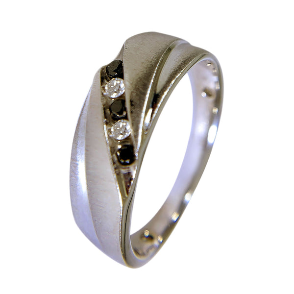 10 KT WHITE GOLD - BLACK AND WHITE DESIGN MENS RING - 0.35 CT