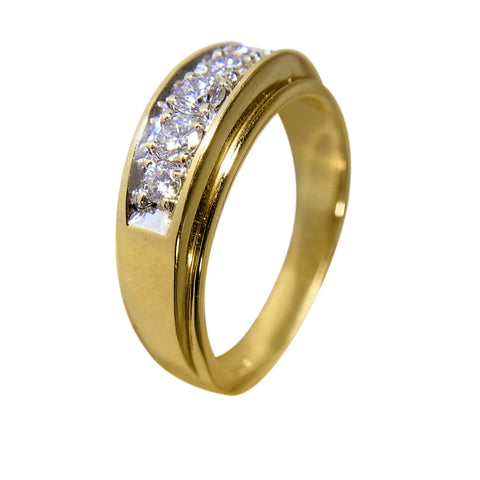 14 KT YELLOW GOLD - WEDDING BAND WITH ROUND DIAMOND FOR MEN - 0.50 CT