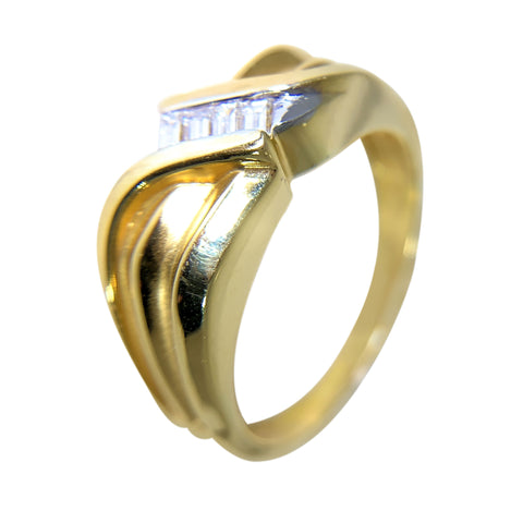 14 KT TT GOLD - SQUARE DESIGN WITH BAGUETTE DIAMONDS MENS RING - 0.42 CT