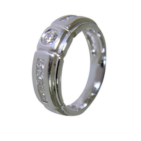 14 KT WHITE GOLD - MENS BAND WITH DIAMONDS - 0.85 CT
