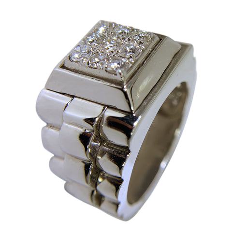 14 KT WHITE GOLD - FABULOUS MENS RING WITH ROUND DIAMONDS - 0.88 CT