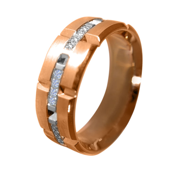 18 KT TT GOLD - CHARMING WEDDING BAND FOR MEN WITH BEAUTIFUL ROUND DIAMONDS - 040 CT