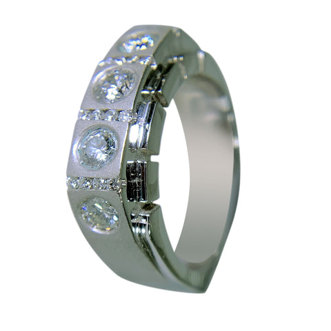 14 KT WHITE GOLD - SQUARE MEN RING WITH ROUND DIAMOND - 1.78 CT