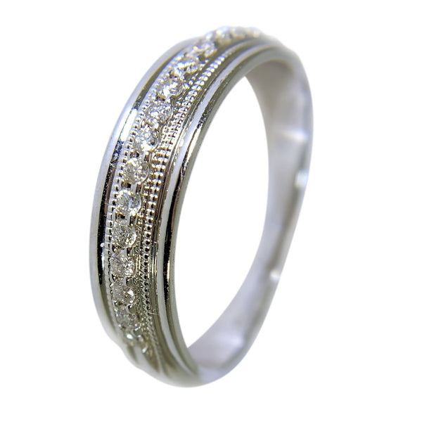 10 KT WHITE GOLD -  ROUND DIAMONDS WEDDING BAND - 0.25 CT