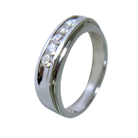 14 KT WHITE GOLD - WEDDING BAND WITH ROUND DIAMOND - 5 STONES - 0.33 CT