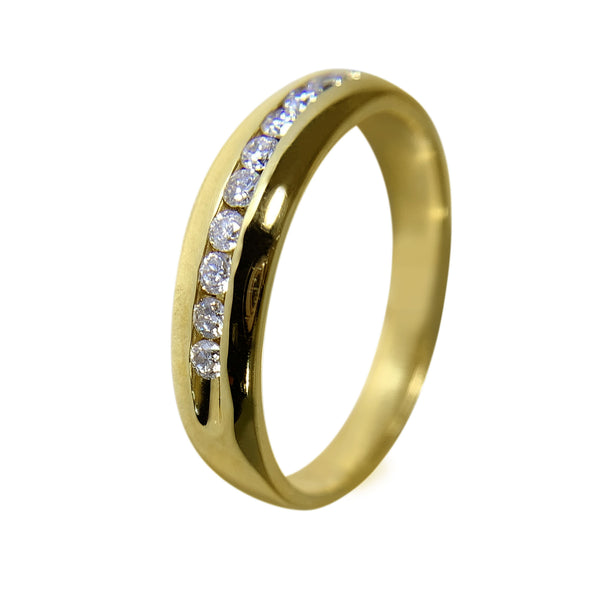 14 KT YELLOW GOLD - WEDDING BAND WITH ROUND DIAMONDS - 0.32 CT