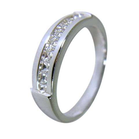 10 KT WHITE GOLD - ROUND DIAMONDS WEDDING BAND - 0.45 CT