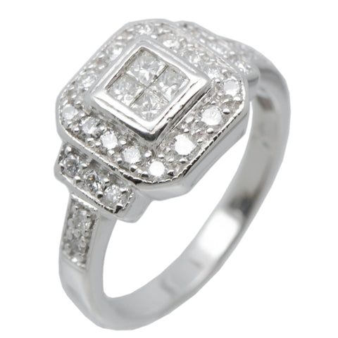 14K White Gold Fancy Womens Diamond Engagement Ring Band 1.25 Ct