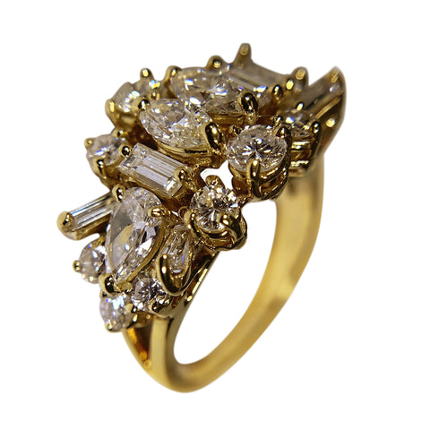 18 KT YELLOW GOLD DIAMONDS WOMENS RING - 3.86 CT