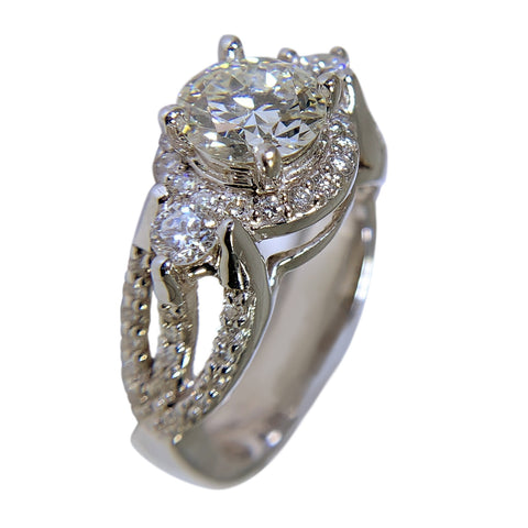 14 KT WHITE GOLD - WOMENS ROUND DIAMOND RING - 2.52 CT