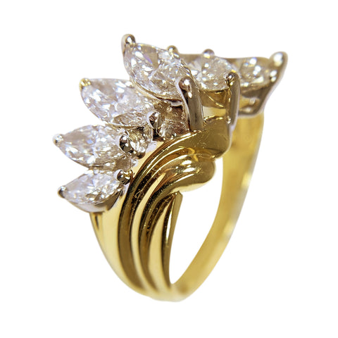 14 KT YELLOW GOLD MARQUISE DIAMONDS RING - 2.03 CT