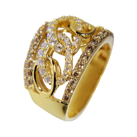 14 KT YELLOW GOLD DIAMONDS WOMENS RING - 1.45 CT