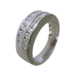 14 KT WHITE GOLD - WEDDING BAND WITH ROUND DIAMONDS - 1.08 CT
