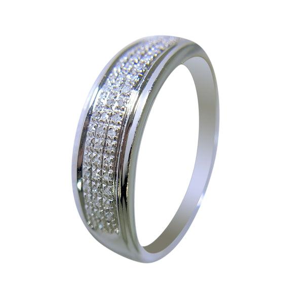 10 KT WHITE GOLD - WEDDING BAND WITH DIAMONDS - 0.25 CT