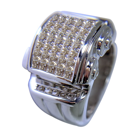 14 KT WHITE GOLD - GORGEOUS ROUND DIAMONDS MENS RING - 2.51 CT