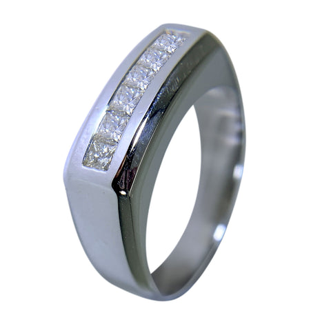 14 KT WHITE GOLD - SQUARE DESING MENS BAND WITH PRINCESS DIAMONDS - 1.00 CT