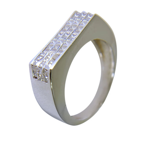 14 KT WHITE GOLD - SQUARE DESING MENS RING WITH PRINCESS DIAMOND - 1.50 CT