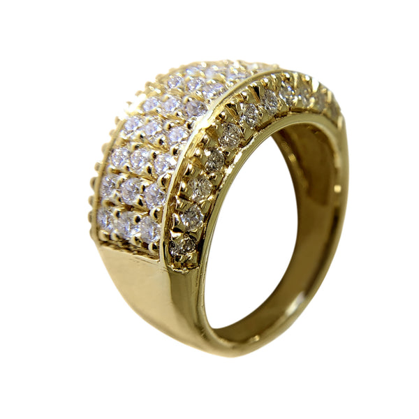 14 KT YELLOW GOLD - GORGEOUS WOMENS RING WITH ROUND DIAMONDS - 2.68 CT