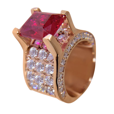 14 KT ROSE GOLD - GORGEOUS RUBY RING - 4.38 CT
