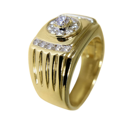 10 KT YELLOW GOLD - FABULOUS MENS RING WITH ROUND DIAMONDS - 0.74 CT