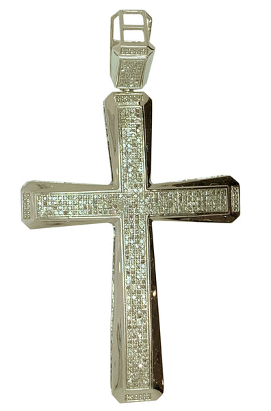 10 KT WHITE GOLD DIAMOND CROSS PENDANT MENS - 2.48 CT