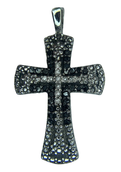 10 KT WHITE GOLD - GORGEOUS CROSS WITH BLACK & WHITE DIAMONDS - 0.35 CT