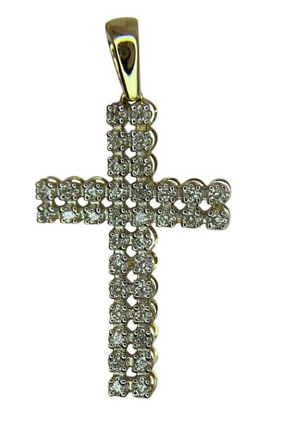 14 KT YELLOW GOLD - ROUND DIAMOND CROSS - 0.78CT