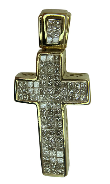 14 KT YELLOW GOLD - PRINCESS DIAMOND CROSS PENDANT - 1.68 CT
