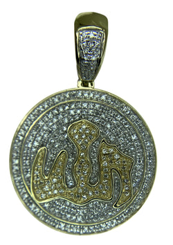 14 KT YELLOW GOLD - MEDAL WITH DIAMONDS PENDANT - 0.88 CT
