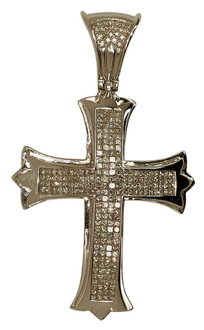 14 KT WHITE GOLD - DIAMOND CROSS PATONCE PENDANT MEN - 8.62 CT