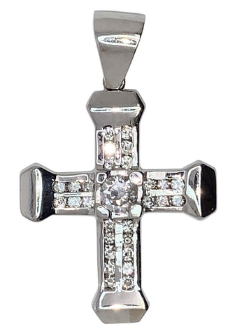 14 KT WHITE GOLD - ROUND DIAMOND CROSS PENDANT MEN - 2.75 CT