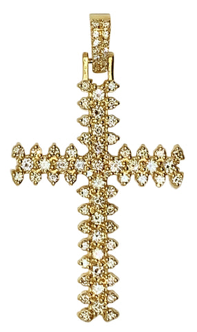 14 YELLOW GOLD - GORGEOUS DIAMOND CROSS PENDANT - 3.32 CT