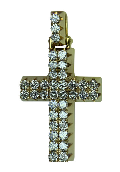 14 KT YELLOW GOLD -  ROUND DIAMOND CROSS PENDANT - 2.43 CT