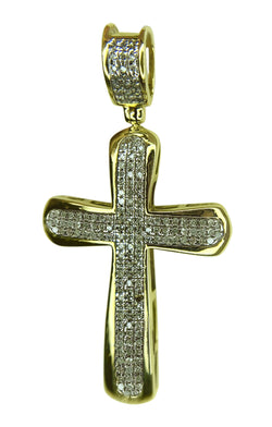 10 KT YELLOW GOLD - ROUND DIAMOND CROSS PENDANT - 2.48 CT
