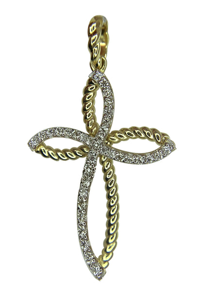 14 KT YELLOW GOLD - BEAUTIFUL INFINITY CROSS WITH DIAMONDS PENDANT - 0.69 CT