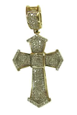 10 KT YELLOW GOLD - ROUND DIAMOND CROSS - 0.65 CT