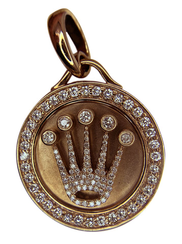 14 KT ROSE GOLD - ROLEX CROWN PENDANT WITH ROUND DIAMOND - 3.00 CT
