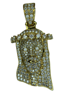 14 KT YELLOW GOLD - JESUS FACE PENDANT WITH ROUND DIAMONDS - 2.80 CT