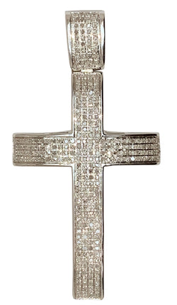 10 KT WHITE GOLD - ROUND DIAMOND CROSS PENDANT - 1.68 CT
