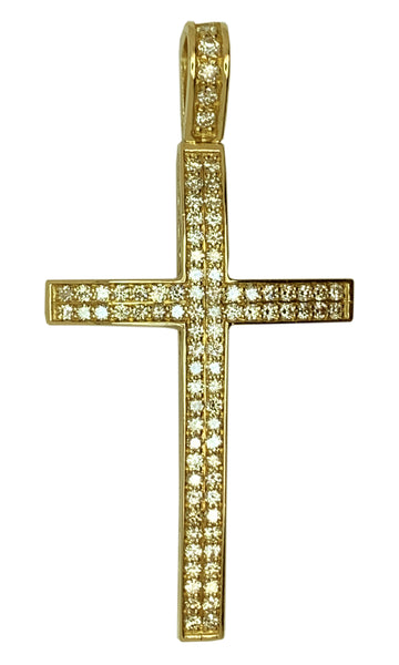 14 KT YELLOW GOLD - BEAUTIFUL ROUND DIAMOND CROSS PENDANT- 3.26 CT