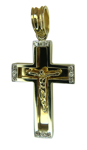 14 KT YELLOW GOLD -  DIAMOND CROSS - 0.32 CT