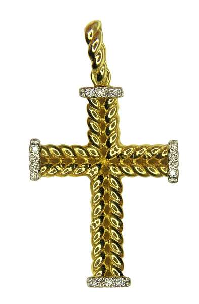 14 KT YELLOW GOLD - CROSS PENDANT - 0.43 CT