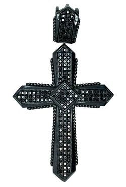10 KT BLACK GOLD CROSS DIAMOND PENDANT MEN - 2.86 CT