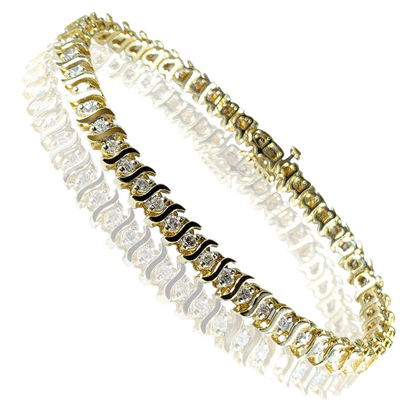 14K Yellow Gold Tennis Diamonds Womens Bracelet with Wave Design 2.57 ct