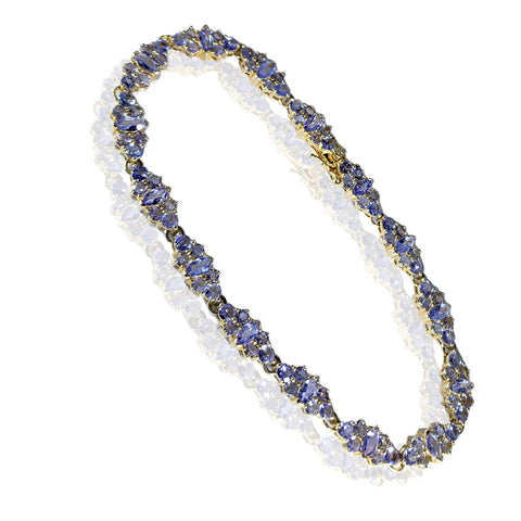 14K Yellow Gold Delicate Tanzanite Design Womens Bracelet 8.00 ct